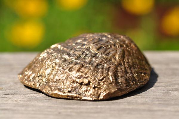 Østersskal i bronze med ferskvandsperle.